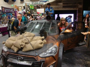 This zombie-proof car was on display on the main floor.