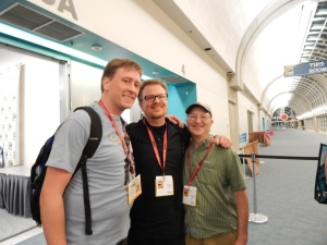 Me with zombie academic Brendan Riley (l) and The Zombie Autopsies author Steven Schlozman (r)