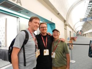 Me with zombie academic Brendan Riley (l) and The Zombie Autopsies author Steven Schlozman (r)