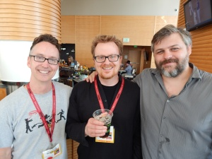 Earlier in the day with Breathers author S.G. Browne (l) and video game designer Patrick Curry (r).